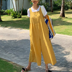 Women's Yellow Linen Loose Jumpsuit