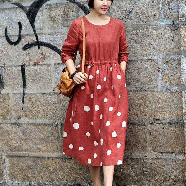 Women Casual Linen Orange Polka Dot Waist Drawstring Dress