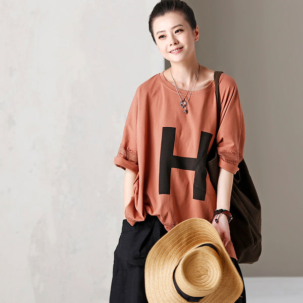 Loose Letter Print Cotton Shirt Women Summer Tops T2039