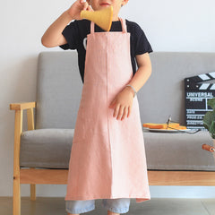Children's Simple Pure Color Linen Art Painting Apron Workwear