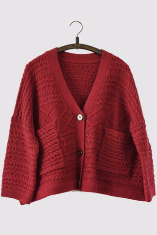 Open Red Wool Vintage Sweater Big Button Cotton Simple Casual Loose Women Clothes LR148