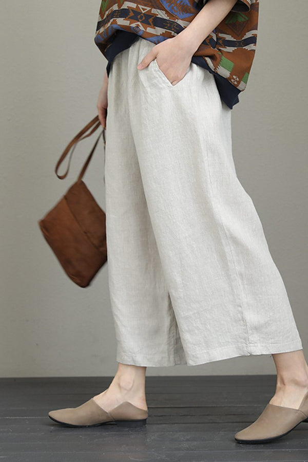 Linen Vintage Art Wide-legged Women Pants Casual Ladies Clothes Q817