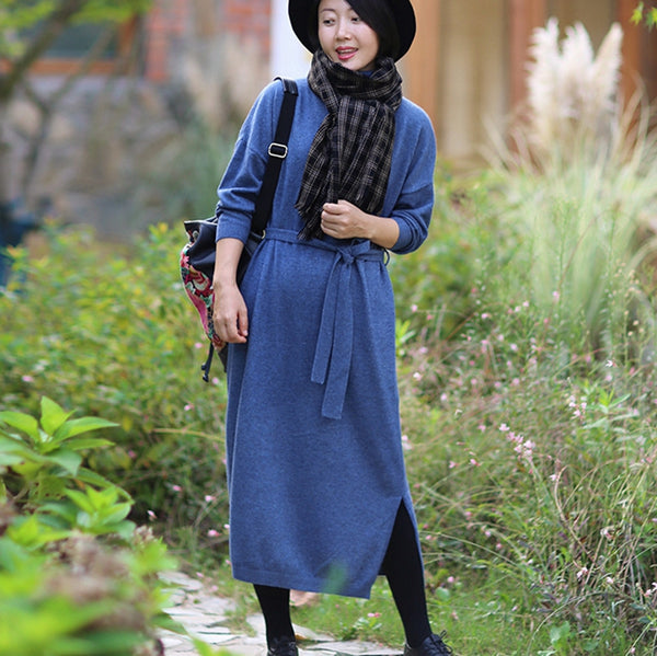 High Neck Slit Hem Rib-Knit Sweater Dress For Women