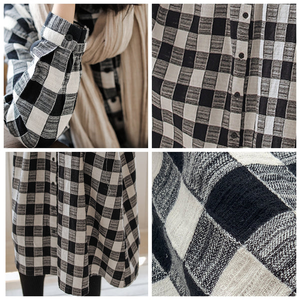 Plaid Long Shirt Dress For Women Q91009