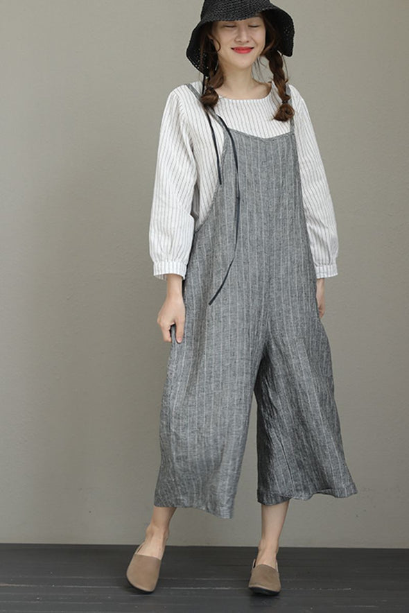 Linen Stripe Casual Jumpsuits For Women Loose Summer Jumpsuits For Women Q8001