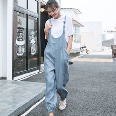 Women Loose Linen Casual Cowboy Overalls N6049