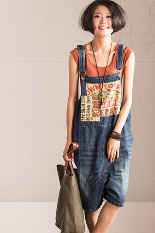 Patch Art Big Size Cowboy Overalls Loose Shorts Women Clothes N986A