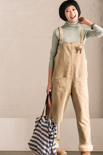 Light Art Corduroy Overalls Women Pants
