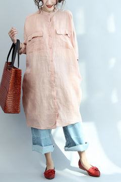 Big Pocket Loose Casual Pink Linen Shirt Dress S3402