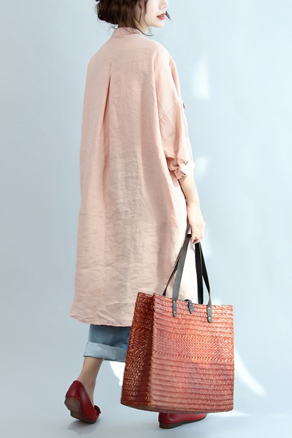 Big Pocket Loose Casual Pink Linen Shirt Dress S3402 - FantasyLinen