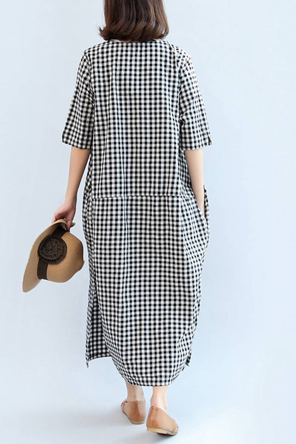 Big Size Plaid Long Dress Loose Cotton Linen Dress Women Clothes Q2041 - FantasyLinen