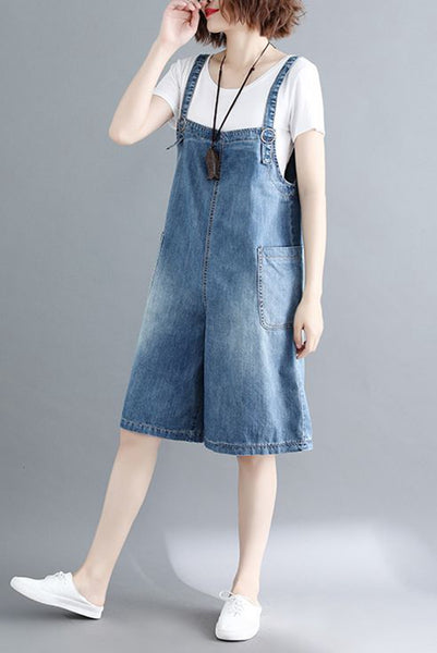 Plus Size Casual Wide Leg Denim Jumpsuits For Women