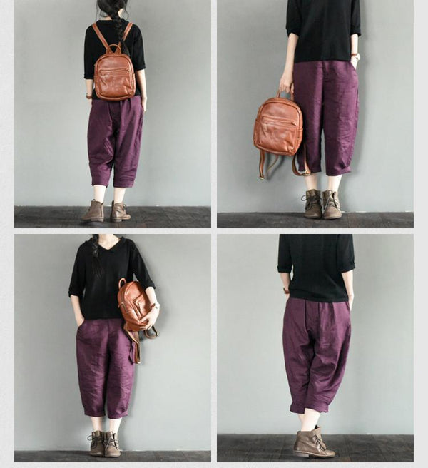 Purple Linen Turnip Pants Simple Causel Trousers Women Clothes - FantasyLinen