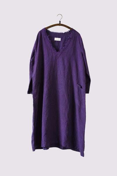 Purple Loose V-neck Dresses Women Tops Q727A