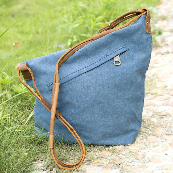 Women Canvas Leather Crossbody Bag in Blue