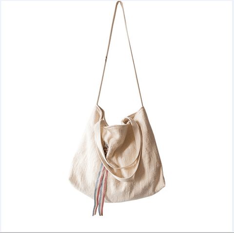 Simple Casual Crossbody Canvas Shoulder Bag With Decorative Straps