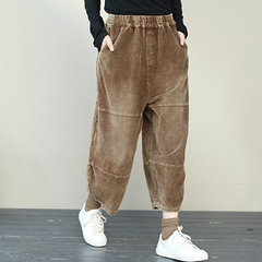 Retro Plus Size Corduroy Pants For Women
