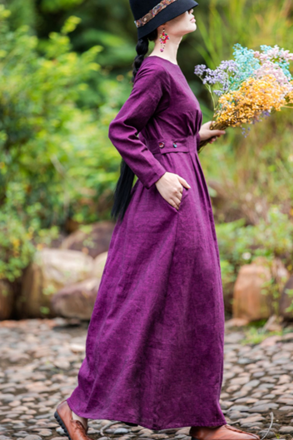 Women's Simple Linen Purple Collect Waist Maxi Dress