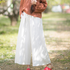 Women White Linen Elastic Waist Wide Leg Pants