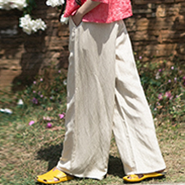 Loose Linen Casual Wide Legs Pants For Women