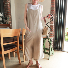Wide Leg Linen Loose Casual Jumpsuit For Women