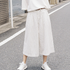 Linen Elastic Waist White Striped Wide Legs Women Pants