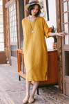 Simple Pure Color Linen V Neck Casual Dress Women Clothes