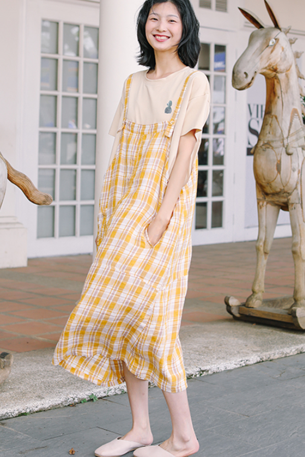 Women's Loose Linen Yellow Plaid Suspenders Skirt