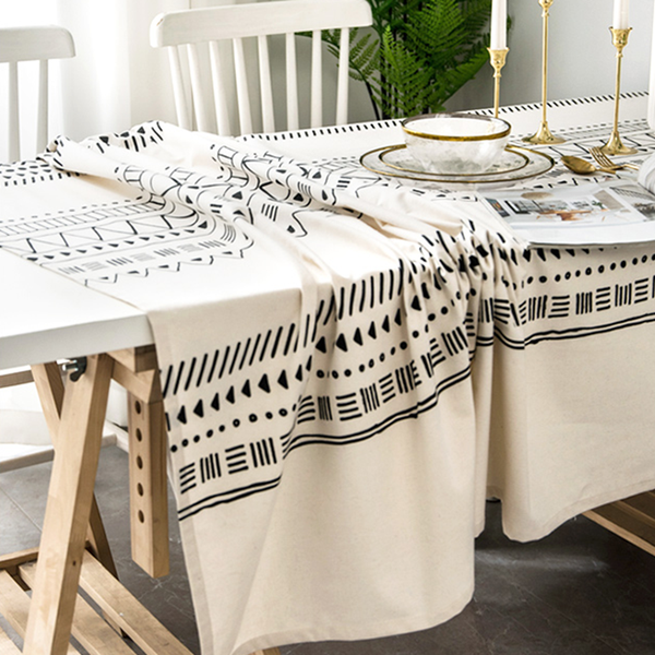 Geometric Pattern Tablecloth Linen Tablecloth Holiday Tablecloths