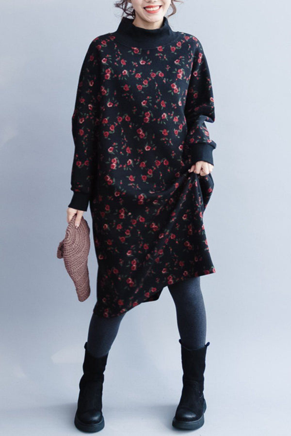 Women Quilted High Neck Flower Dress, Casual Loose Dress For Winter Q8010 - FantasyLinen