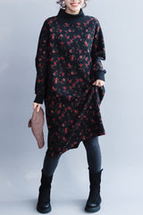 Women Quilted High Neck Flower Dress, Casual Loose Dress For Winter Q8010