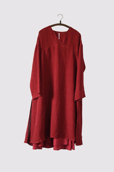 Red Big Size Shirt Dress Lovely Long Tops Fashion Women Clothes LR0067