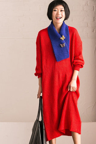 Red Casual Loose Sweater Dress
