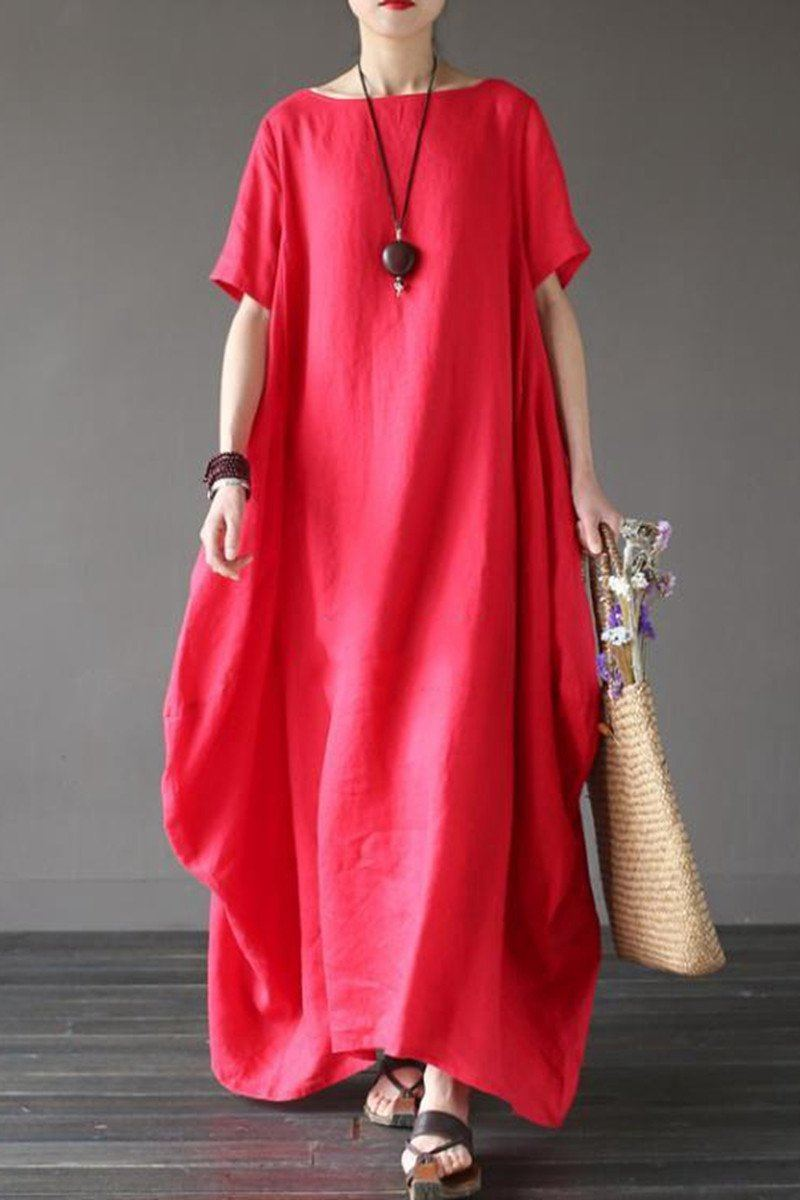 Red Casual Linen Plus Size Summer Maxi Dresses 1640