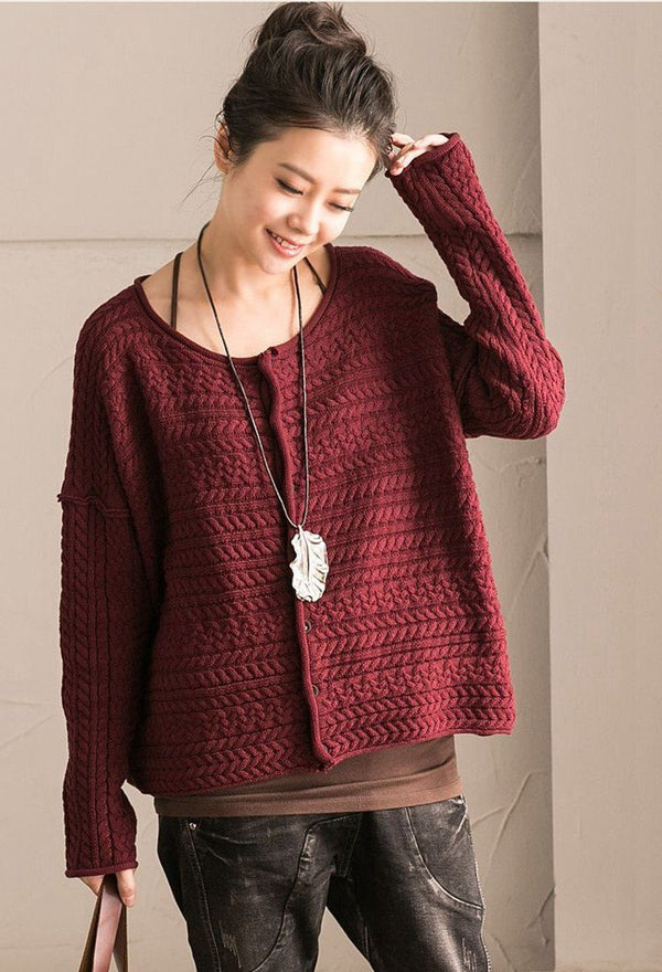 Red Art Simply Casual Round Collar Knit Sweater  Women Clothes Z1331B - FantasyLinen