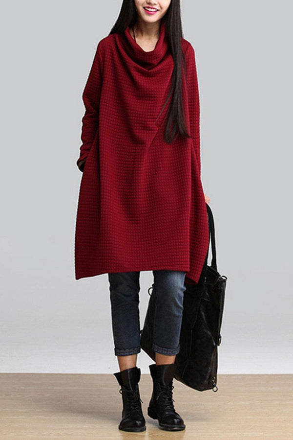Red Art Warm Casual Loose Dress Women Tops Q2884A - FantasyLinen