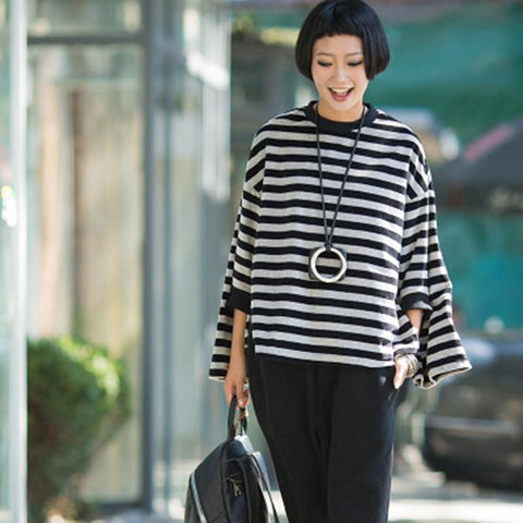 Retro Lovely Sweet Bat Sleeve Stripe Fleece Shirt Women Tops R3390A
