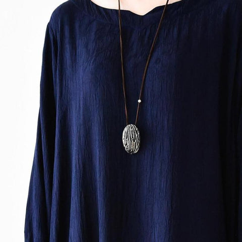 Shell Metal Vintage Long Cowhide Rope Sweater Necklace Women Accessories N1103A