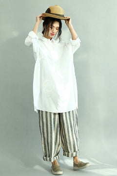 White Long Cotton Shirts for Women Loose Women Shirts S2041