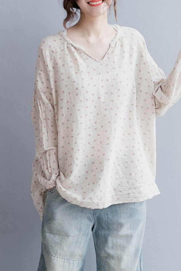 Floral Linen Casual Short Shirt Women Shirt Sleeve Shirt S2042