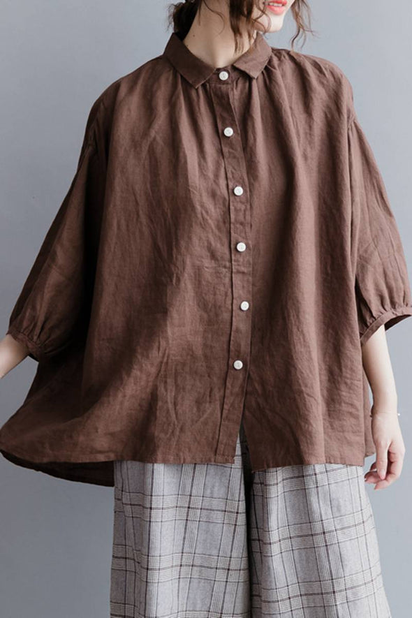 Casual Linen Pure Short Shirt Women Shirt Sleeve Shirt for WomenS2043 - FantasyLinen