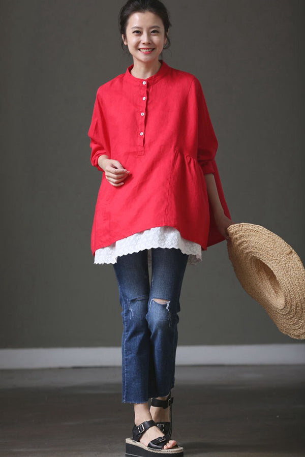 Red Cotton Linen Bat Sleeve Top Lovely Shirt Summer and Spring For Women C1017