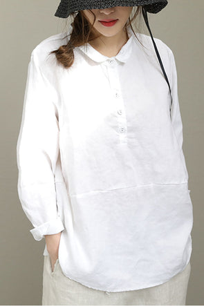White Black Linen Short Shirt Summer For Women Q2551