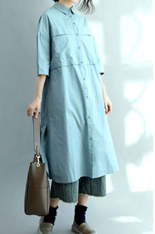 Blue Long Cotton Shirts for Women 3/4 Sleeve Loose Shirt C2071 - FantasyLinen
