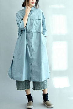 Blue Long Cotton Shirts for Women 3/4 Sleeve Loose Shirt C2071