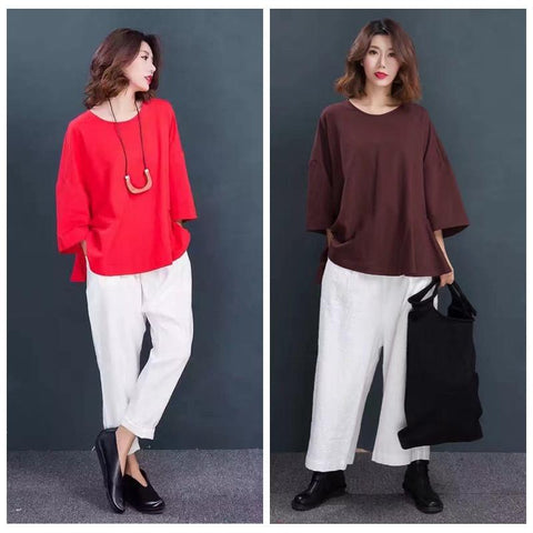 Red/Coffee Lovely Doll A-Style Casual Loose Shirt Women Tops S7009A