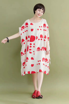FantasyLinen Summer Silk Cotton Red Dot White Stylish Casual Loose Fitting Dresses 7166