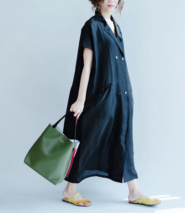 Silk Linen Long Dress Wind Coat Q3102 - FantasyLinen