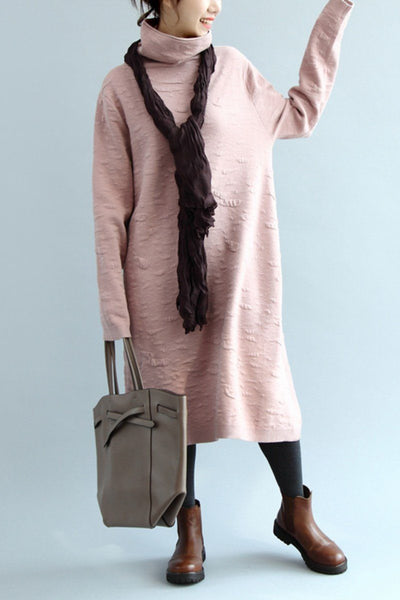High Neck Knitted Cotton Loose Dress, Simple Straight Dress Q5041