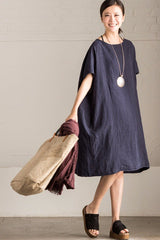 Simple Style Blue Linen Dress Q2536A